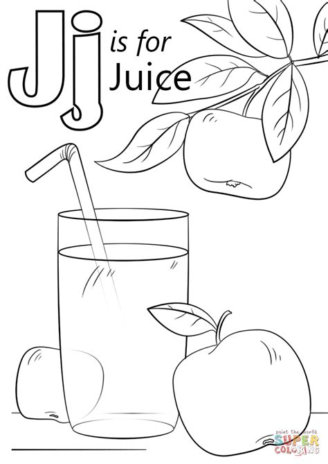 letter j is for juice coloring page free printable
