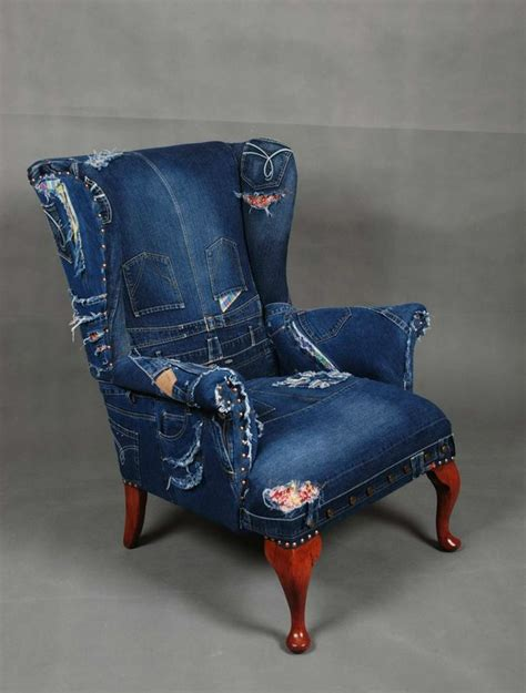 patchwork denim armchair sofa chair knoll