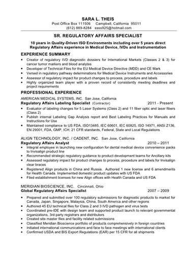 Regulatory Affairs Specialist Sle Resume by Regulatory Affairs Associate Resume
