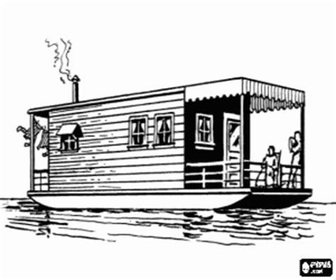 houseboat outline houses coloring pages printable games