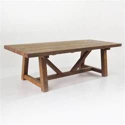 Trestle Dining Table With Bench Reclaimed Teak Trestle Table Bench And Wicker Chairs Teak Warehouse