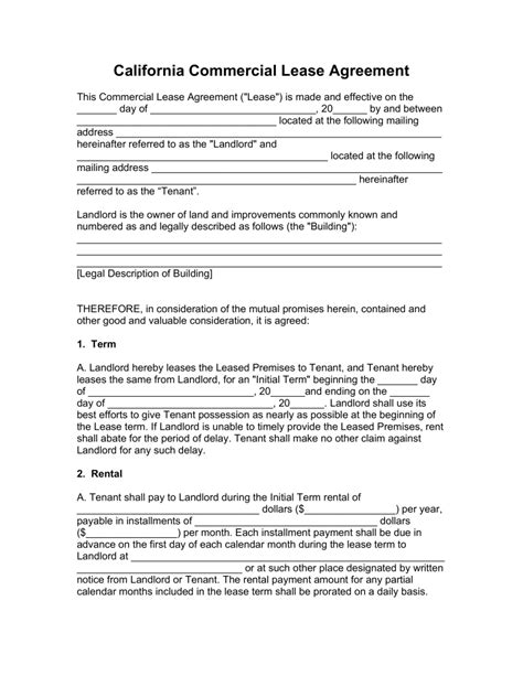 free california commercial lease agreement template pdf