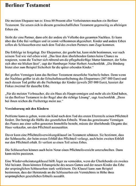Kostenlose Vorlage Für Berliner Testament Eigenhndiges Schriftliches Testament Berliner Testament Trennungslsung Nachstehend Finden Sie