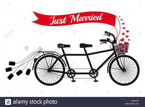 Wedding Clipart Just Married by Just Married Wedding Tandem Bicycle Stock Photo Royalty