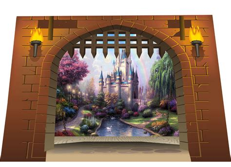 Medieval Wall Murals huge 3d medieval castle gate dungeon amp dragons view wall