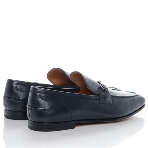 gucci moccasin loafers gucci mens leather horsebit moccasin loafers 9 navy 187057
