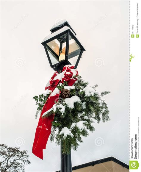 l post with christmas decoration stock image image