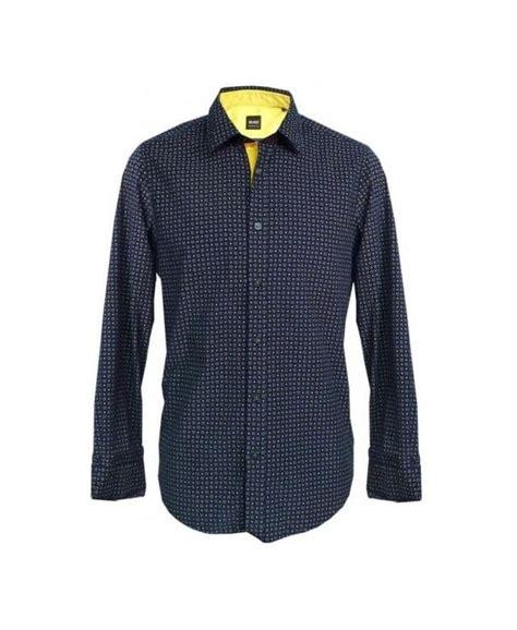 Hugo Boss Pattern T Shirt | hugo boss navy gold pattern cord lucas 11 50254082 shirt