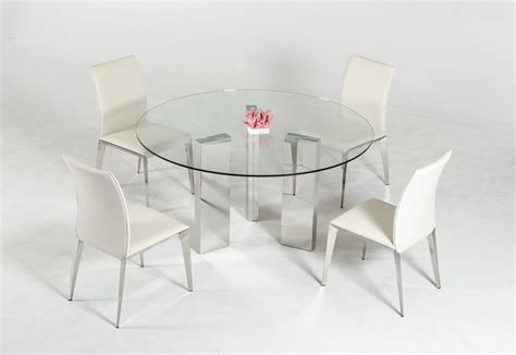 Glass Dining Table With Glass Base Modern Glass Top Dining Table With Stainless Steel Mirrored Base Carolina