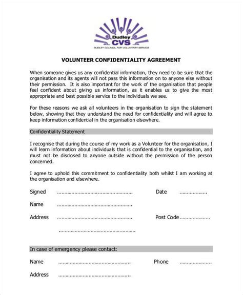 confidentiality agreement template uk 9 volunteer confidentiality agreements free sle