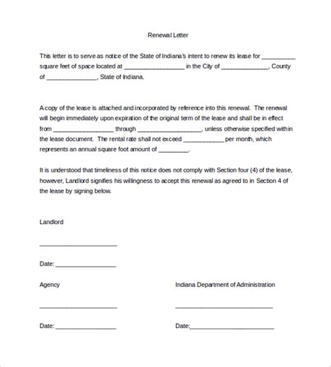 Tenancy Agreement Renewal Template sle lease renewal letter 9 free documents