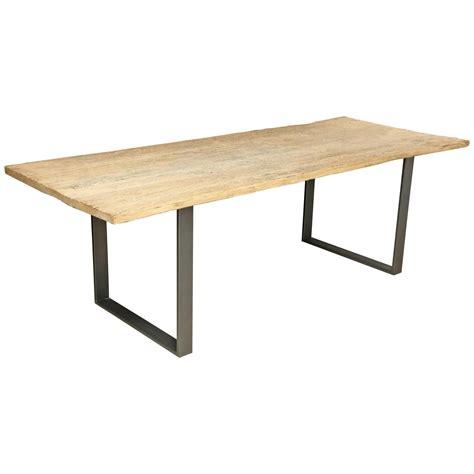 large reclaimed elm wood dining table  steel base
