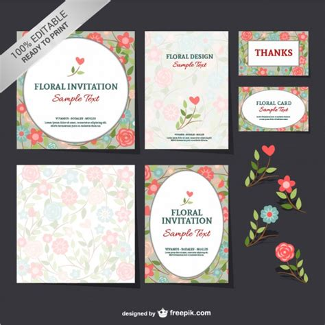 flower business card template illustrator floral invitations and thanking cards vector free
