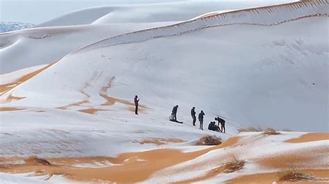 sahara snowfall rare snow in the sahara desert algeria the weather channel