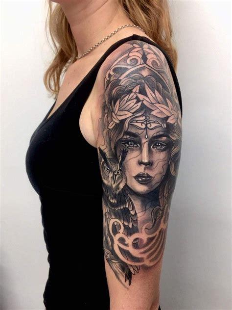 carter tattoo athena half sleeve in progress done by sam