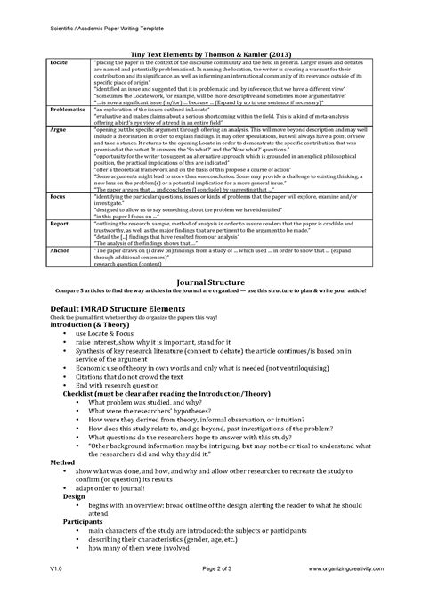 template for scientific paper scientific academic paper writing template organizing