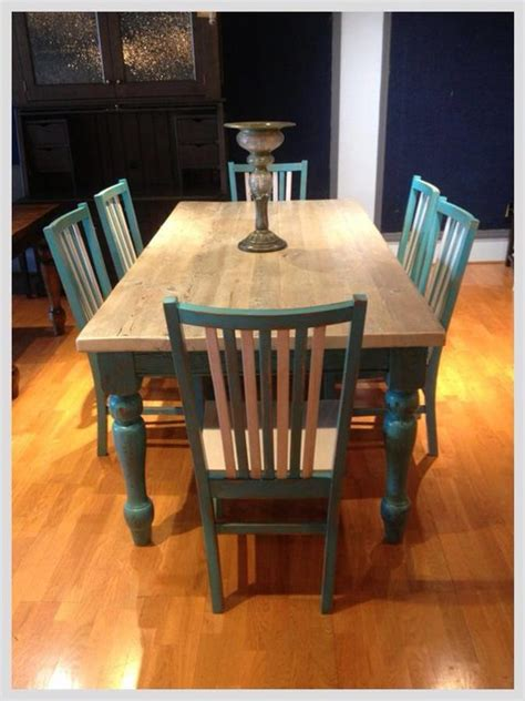 white washed teal farmhouse table