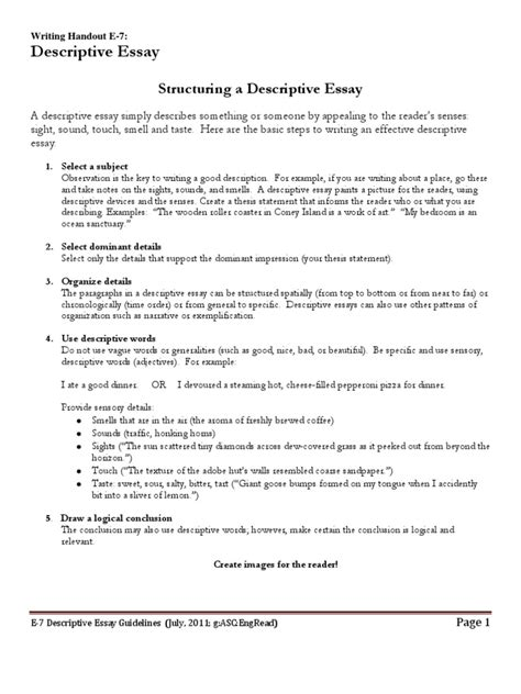 Thesis Statement For Descriptive Essay by Thesis Statement For Descriptive Essay