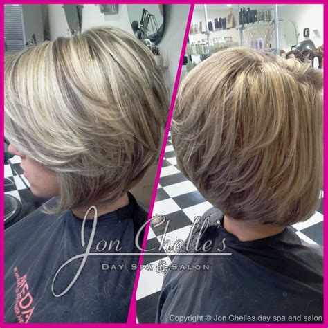 asymetrical ans stacked hairstyles full foil highlights and lowlights short stacked