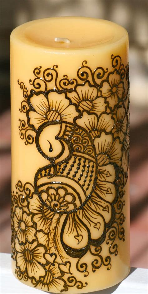 henna design on candle henna peacock candle yellow pillar candle intricate