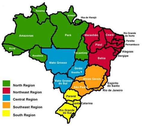 geographical map of brazil geography brazil facil