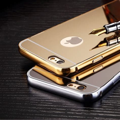 Aluminium For Iphone 6 Plus Black for iphone 7 plus mirror plating aluminum metal luxury back cover black gold