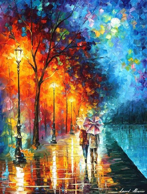 painting work love by the lake palette knife oil painting on canvas by