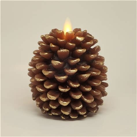 luminara flameless led candles pine cone shape 3 25 inch x 4 inch brown wax remote ready