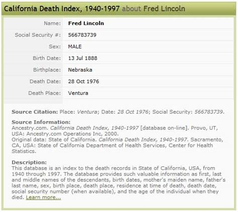 Free Ssi Index Records Social Security Index Fred Lincoln Images Frompo
