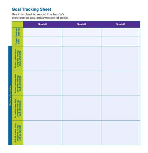 10 Goal Tracking Sles Sle Templates Tracking Chart Template