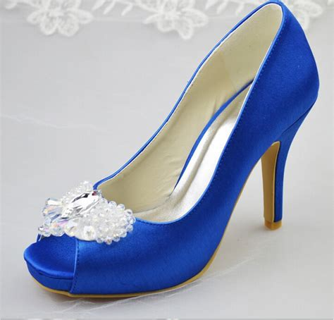 new arrival royal blue satin pumps low heel closed