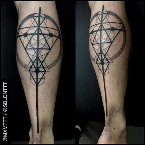 mxm tattoo leg dotwork abstract by mxm