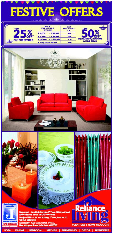 home decor offers reliance living presents festive offers on furniture