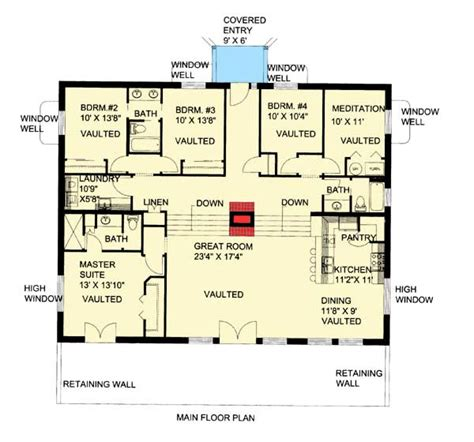 berm home floor plans attractive berm house plan 35458gh architectural