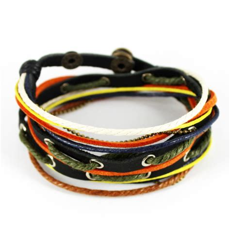 Handmade Mens Leather Cuff Bracelets - d304 fashion mens womens hemp leather wrap bracelet