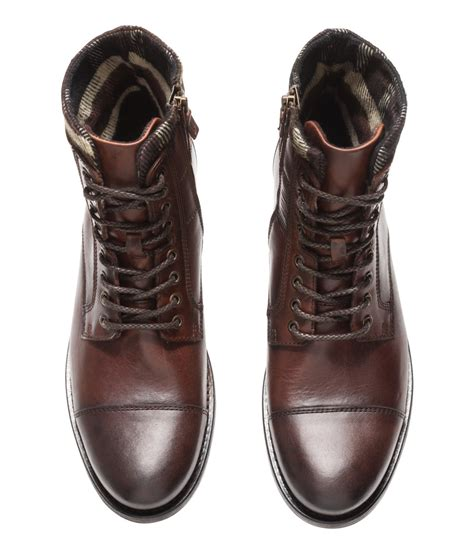 m s mens boots h m leather boots in brown for lyst