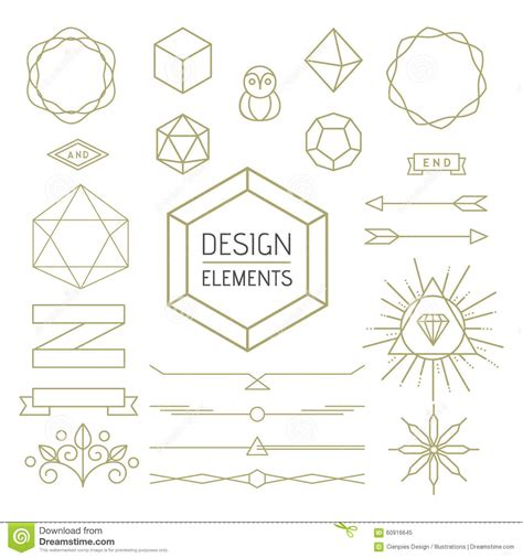 design elements style design element set mono line art geometry symbol stock