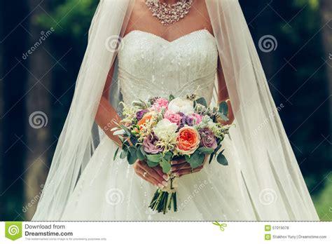 big wedding bouquets holding big wedding bouquet stock photo image
