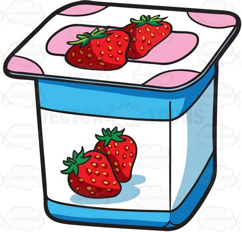 clipart yogurt cartoon clipart a one serving strawberry yogurt for sale