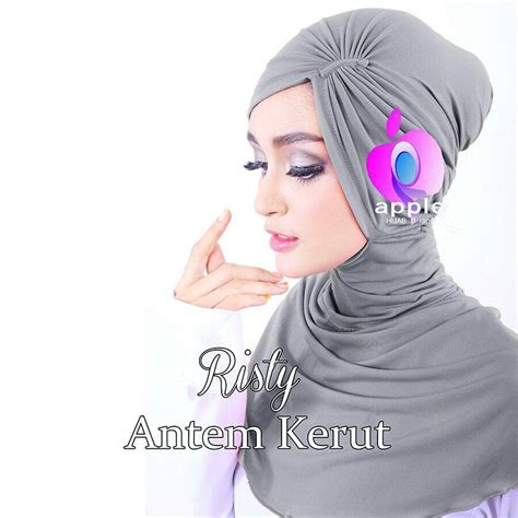 Khimar Segi4 jilbab antem kerut risty by apple brand