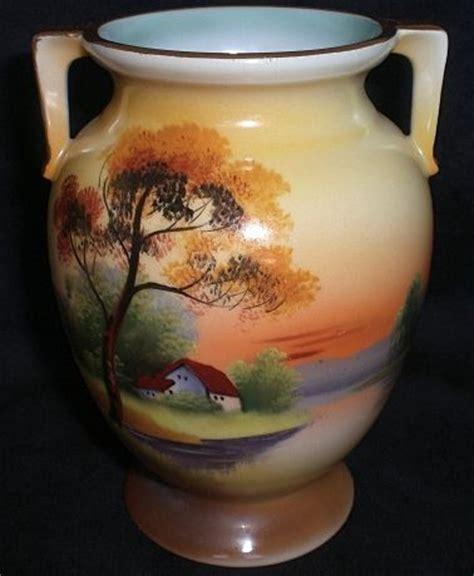 vintage noritake vase painted tree in the meadow