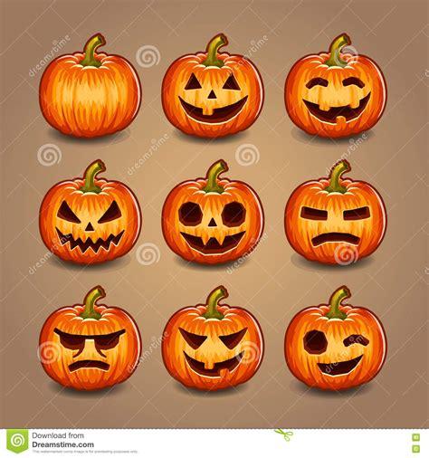 imagenes calabazas terrorificas halloween calabazas de halloween fijadas vector ilustraci 243 n del