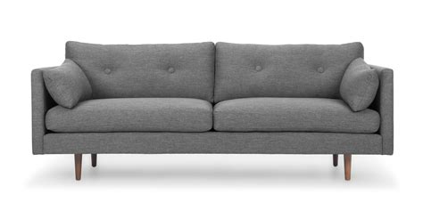 gray mid century sofa anton gravel gray sofa sofas article modern mid