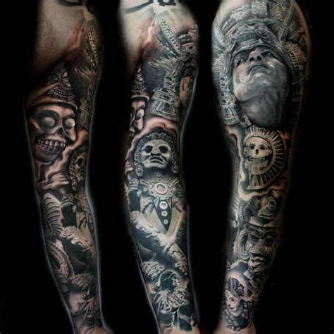 mexican tattoos sleeves aztec warrior sleeve tatts aztec warrior