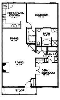 2 Bedroom Floor Plans by Two Bedroom House Plans Home Plans Homepw03155 1 350