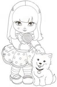 jolie desenhos colorir imprimir pintar das garotinhas seus cachorrinhos desenhos