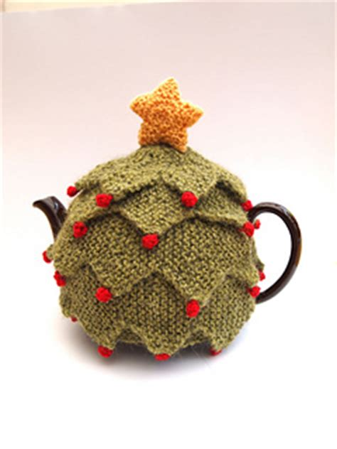 christmas knitted cozy ravelry tree tea cosy pattern by sue stratford