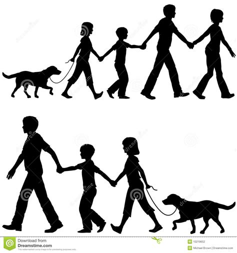 how to a to walk the lead casual family parents lead on walk vector illustration cartoondealer