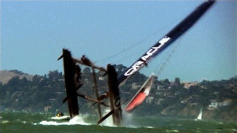 catamaran boat capsizes bbc sport catamaran capsizes in spectacular fashion