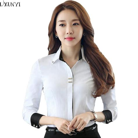 Baju Kantor Blouse White Cklass Size M aliexpress buy 3xl work shirt white sleeve office shirts plus